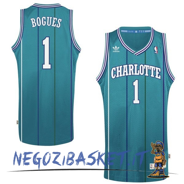 Promo Maglia NBA Charlotte Hornets No.1 Tyrone Curtis Bogues Verde