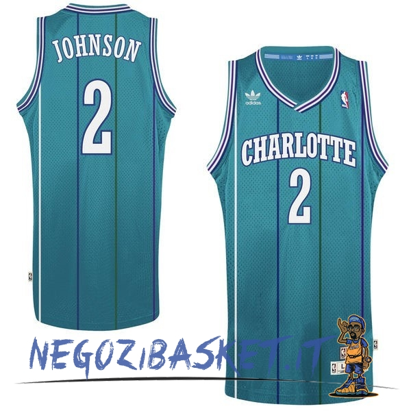 Promo Maglia NBA Charlotte Hornets No.2 Larry Demetric Johnson Verde