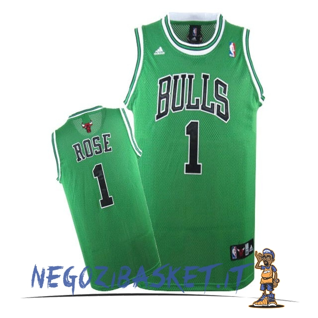 Promo Maglia NBA Chicago Bulls NO.1 Derrick Rose Verde