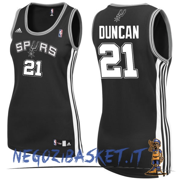 Promo Maglia NBA Donna San Antonio Spurs NO.21 Tim Duncan Nero