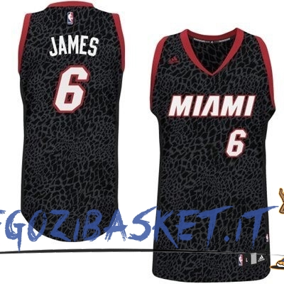 Promo Maglia NBA Miami Heat Luce Leopard NO.6 James Nero