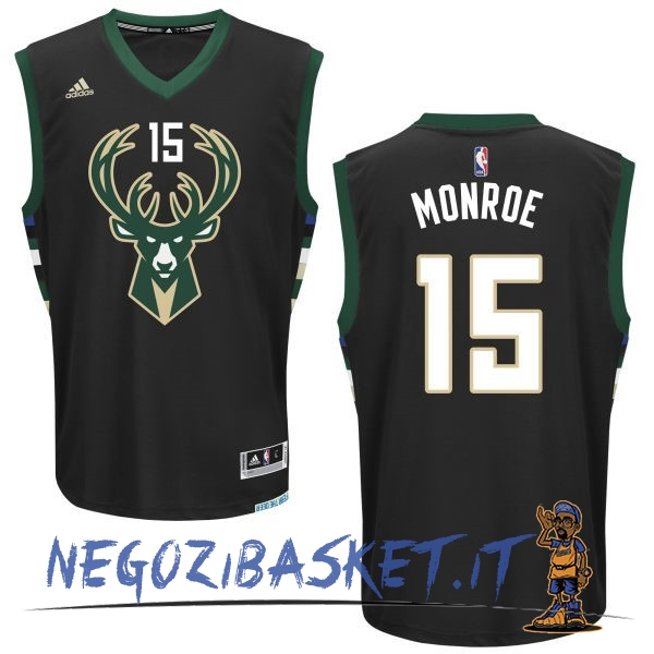 Promo Maglia NBA Milwaukee Bucks NO.15 Greg Monroe Nero