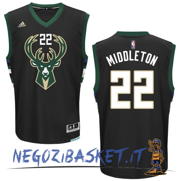 Promo Maglia NBA Milwaukee Bucks NO.22 Khris Middleton Nero