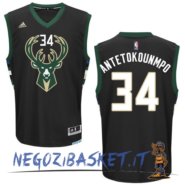 Promo Maglia NBA Milwaukee Bucks NO.34 Giannis Antetokounmpo Nero