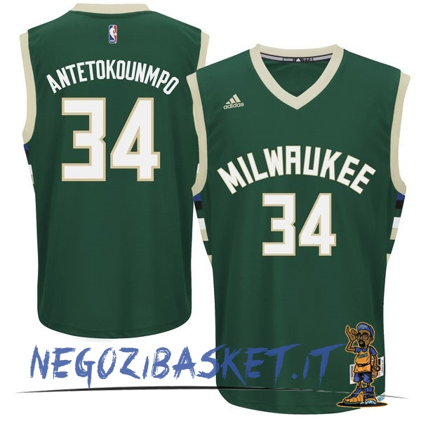 Promo Maglia NBA Milwaukee Bucks NO.34 Giannis Antetokounmpo Verde