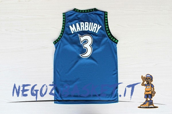 Promo Maglia NBA Minnesota Timberwolves NO.3 Stephon Marbury Retro Blu