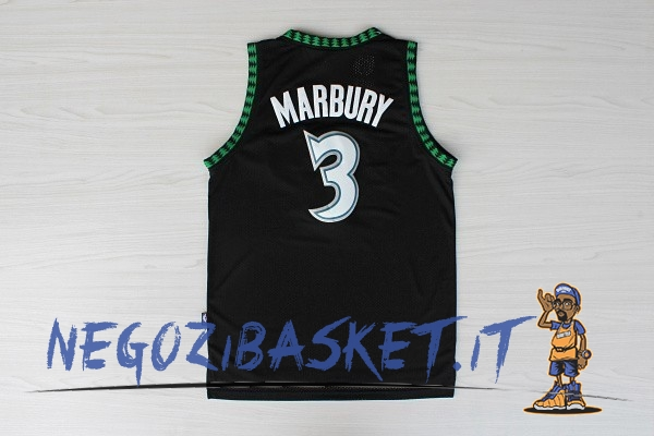 Promo Maglia NBA Minnesota Timberwolves NO.3 Stephon Marbury Retro Nero