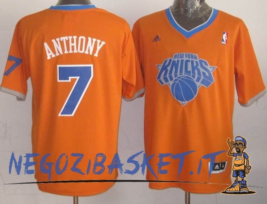 Promo Maglia NBA New York Knicks 2013 Natale NO.7 Anthony Arancia