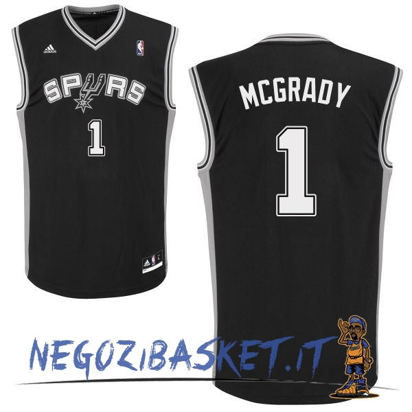 Promo Maglia NBA San Antonio Spurs NO.1 Tracy McGrady Nero