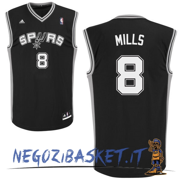 Promo Maglia NBA San Antonio Spurs NO.8 Patty Mills Nero