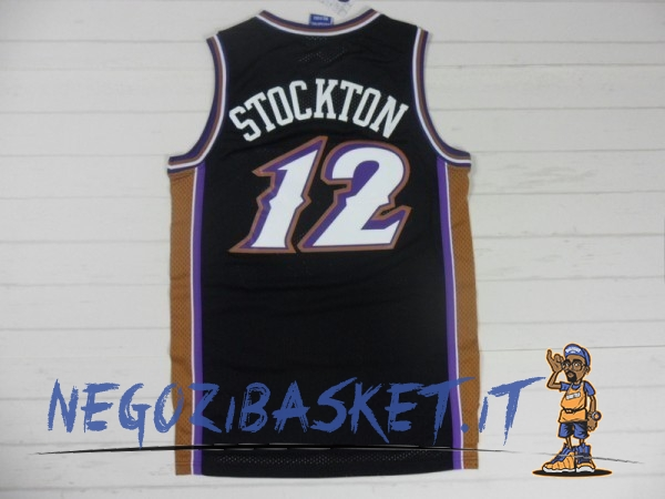 Promo Maglia NBA Utah Jazz NO.12 John Stockton Retro Nero