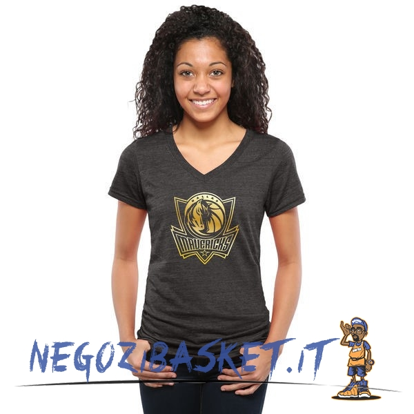 Promo T-Shirt Donna Dallas Mavericks Nero Oro